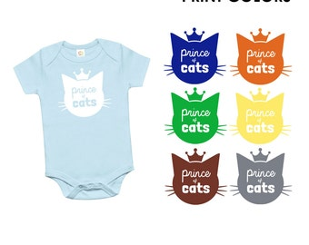 Prince of Cats Organic Cotton One Piece Romper - Family Photos, infant, Expecting, New Baby, Baby Shower, Cat Lady, Meow