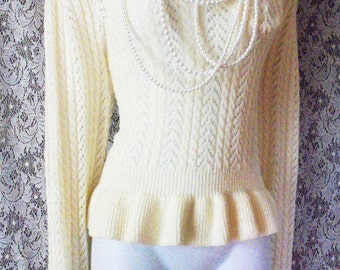 Cream wool sweater knit top ruffle peplum ivory vintage lacey boho  medium from vintage opulence on Etsy