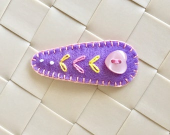 Sweet Heart Hair Clip , Button Hair Clip, Purple Felt Hair Clip, Toddler Barrette, Girl Hair Clip, Baby Shower Gift, Handmade Barrette