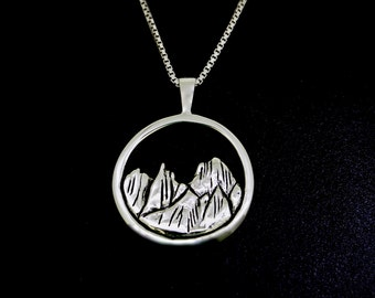 Cascade Skyline Necklace, Sterling Silver Necklace, Recycled Silver Pendant with Sterling Silver Chain