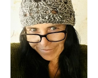 Shades of Grey Textured Chunky Lace Crochet Hat