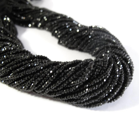 Tiny Beauties, Black Spinel Beads, 2mm Faceted Gemstone Rondelles, 13 Inch Strand of Tiny Beauties for Making Jewelry (R-Sp1)