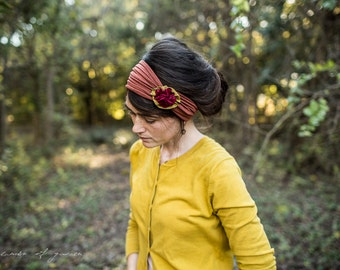 Holiday Holly Berry Rosette Headband in Nutmeg- Garlands of Grace headband hair wrap headcovering  band Stretch