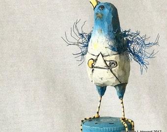 Baby Powdered Bluebird ~ USA Whittled ~ Original