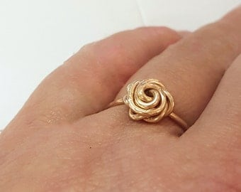 Gold rose ring,  gold promise ring, delicate gold ring, bridesmaid ring