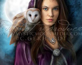 High Priestess / Art Print / Pagan art / Wiccan Alter Art Print / Wicca / Owl / Witch Art / Fantasy Art / Fantasy Creatures