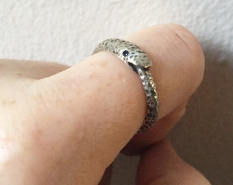 Sapphire and Sterling Silver-Larger Ouroboros Ring