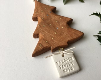 Personalized Inlaid Cherry Wood and Ceramic Christmas Tree Ornament by Paloma's Nest with custom name or phrase