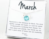March Birthstone Personalized Silver Necklace, Aquamarine Necklace, Personalized Silver Necklace, March Birthday Gift #869