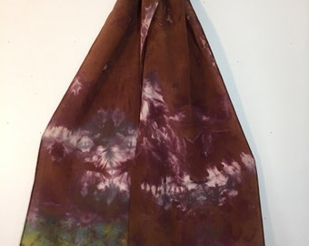 hand dyed silk scarf in river's edge