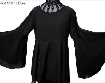 Gothic Semi-Sheer Black Georgette Shadowen Tunic by Kambriel - Flared Sleeves + Undulating Hem - Brand New & Ready to Ship!