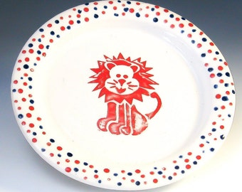 Kids Plate, Children's Pottery, Small Lion Plate, Kids Dishes