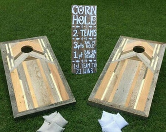 CORN HOLE SIGN only. Game Rules Board. Lawn Games Sign. Yard Self Standing Sign. Reclaimed Wood Wedding Sign. Reception Games Signs. Bocce