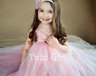 Blush Pink Tutu Dress, Blush Flower Girl Tutu Dress, Pink Blush Tulle Dress, Babies, Girls, Toddlers