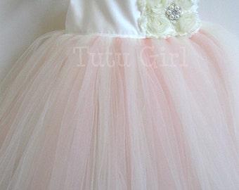 Flower Girl Dress Blush Ivory Tutu Dress, Blush Dress Girls