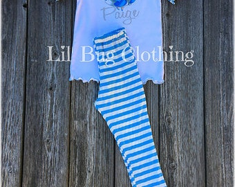 Cinderella Personalized Tee And Baby Blue White Stripe Ruffled Pant Outfit, Cinderella Princess Girl Outfit, Cinderella Birthday Outfit