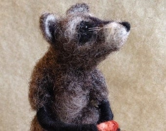 In Training...needle felted racoons