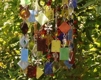 Glass Wind Chime - Glass Suncatcher - One Of A Kind Gift, Garden Art Anniversary, Birthday, Wedding, Housewarming, Copper Whirly Jig