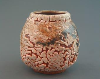 Vase, wood-fired stoneware w/ crawling shino, oribe, iron slip and natural ash glazes