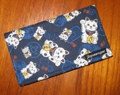 Reserved for Piao Ye Checkbook Cover Japanese Maneki Neko Cat  and Coins Fabric  Design Navy