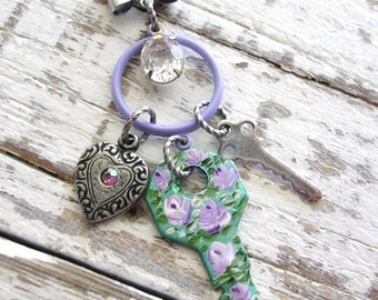 Silver Bag Charm Purse Pull Clip Hand Painted Key Rose Flowers Pendant Bow Necklace Shabby Chic Jewelry Vintage Keys Heart Charm