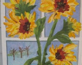 Sunflowers on the Windowsill - Original Acrylic Painting - 12 x 16 inches