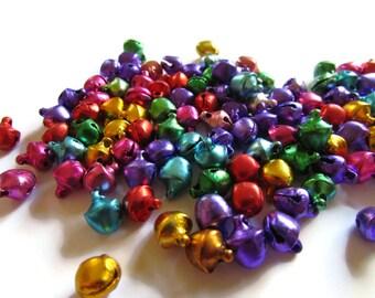 100 Small Jingle Bells Mixed Color bells Jewel Tone Bell Charms Aluminum Bells 9x8x7mm Assorted Color Bell Beads