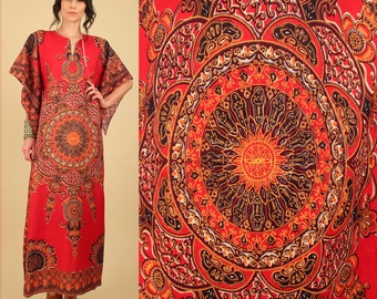 Dashiki Maxi Dress ViNtAgE 60's 70's Psychedelic MANDALA Ornate Cotton Angelwing Ethnic  Hippie Gypsy Festival Freesize s/m/l
