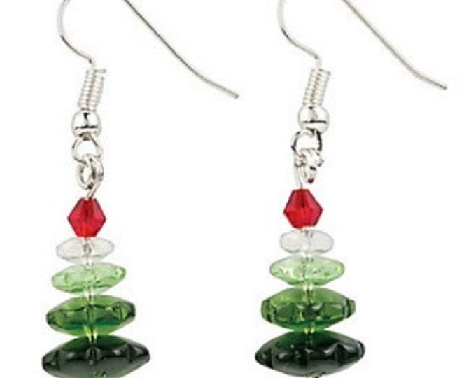 Ombre Christmas Tree Earrings