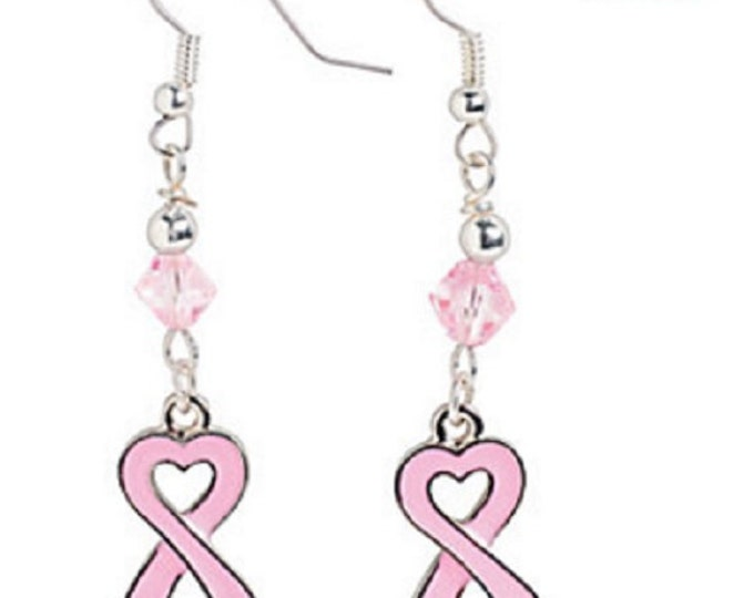 Heart-Shaped Pink Ribbon Earrings