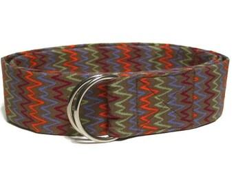 "Women's Brown D-ring Belt / SALE / Chevron Fabric Belt / Wide Belt with buckle choices / Brown Cloth Belt - Belt Length 36"" to 46"""
