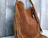 Leather Fringe Bag in Honey Brown Embossed Leather by Stacy Leigh