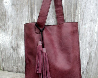Plum Italian Leather Flat Bag by Stacy Leigh