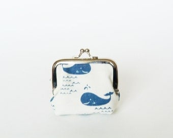 Coin purse, blue and white whale fabric, cotton pouch