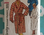 Men's Robe Pattern Vintage 1950s Simplicity 2312 Size Medium Chest 38-40 - OH - INCOMPLETE - Men's Robe / Vintage Robe / Robe Pattern