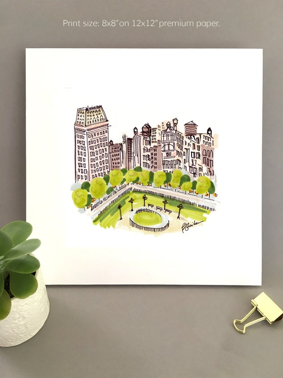 Union Square New York city park illustration print, urban buildings and trees, minimal line art drawing, city sketch cityscape whimsical art