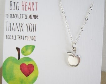Gift for Teacher gift from student Apple necklace Teacher necklace Elementary teacher Solid sterling silver necklace Thank you gift card