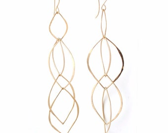 Fiore' Dangle Interlocking Earrings in Sterling Silver or Gold Filled