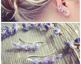 Lavender Ear Climber Sterling Silver Lavender Flower, ear jacket manchette, ohrklemme ohrclip, Ear Cuff, Ear Pin, Ear Sweep Climber, Glass