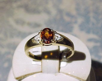 Oval Topaz or Citrine 10k Gold Ring