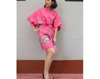 Pink  Flower Kimono Thai Batik Floral Short Bridesmaid Bath Robe S - L (R04)