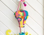 Fabric Rainbow Hot Air Balloon Hanging Art, Mobile