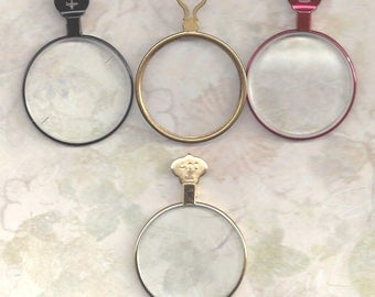 4 Antique Trial or Optical lenses.. steampunk or altered art