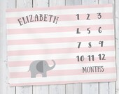 Baby Milestone Blanket- Pink Elephant Baby Month Blanket - Pink & Grey Elephant Girl - Baby Blanket - Track Growth and Age -Baby Shower Gift