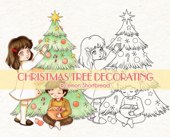 Digital Stamp Christmas Tree Decorating, Digi Children Holiday Ornaments, Coloring Page, Clip Art, Scrapbooking Supplies, Instant download