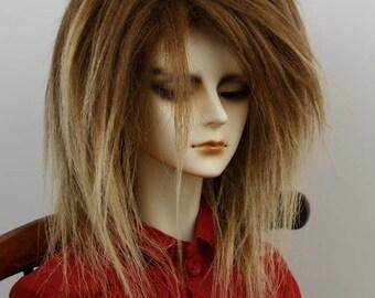 BJD Wig Ombre Brown faux fur black doll wig SIZE CHOICE
