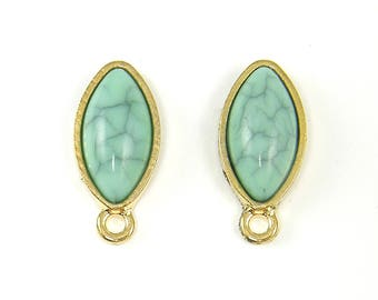 Turquoise Marquise Earring Post Findings, Turquoise Gold Earring Posts with Loop, Aqua Gold Earring Studs Pointed Oval