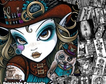 15 Pages - Set 4 - Steampunk Beauties - Printable Coloring Book- Grayscale - Myka Jelina - Fairy Coloring Book - Coloring Pages - Download
