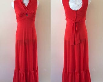 Vintage 1970s Red Maxi Dress sz S