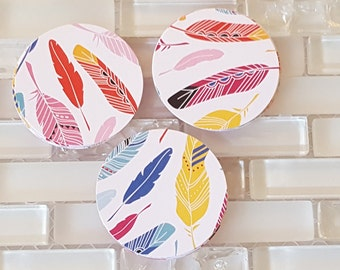 """Colorful Feathers 2"""" Die Cut Circles or Sticker Set"""